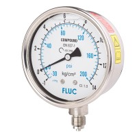 FLUC Pressure Gauge F100-GFS-S-L-14-L  (-30 to 200 PSI )
